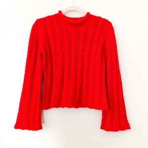Valerie Stevens Wool Cable Knit Crop Sweater🔥